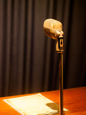 vintage audio microphone against the background