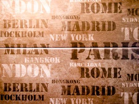 Retro seamless with city names New York, London, Paris and Rome photo