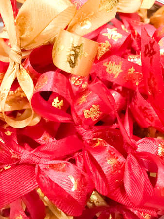 red ribbons as symbols of good luck for the Chinese New Year