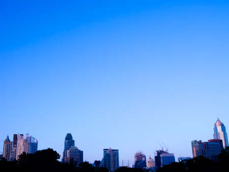 city skyline in blue tone color background
