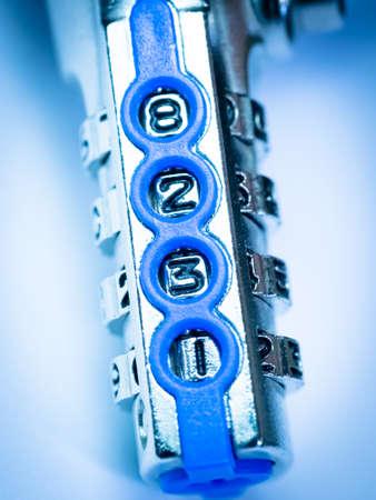 secret code: Close up combination padlock device