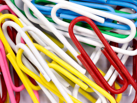 Abstract close up  colorful paper clips background Stock Photo