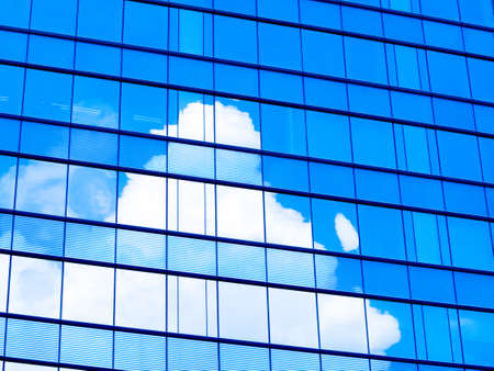 window glass reflection of cloudy sky abstract background