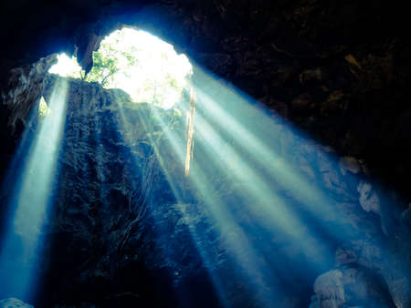 Abstract sun light in the cave background