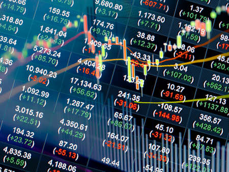 stock chart in double exposure background Stock Photo