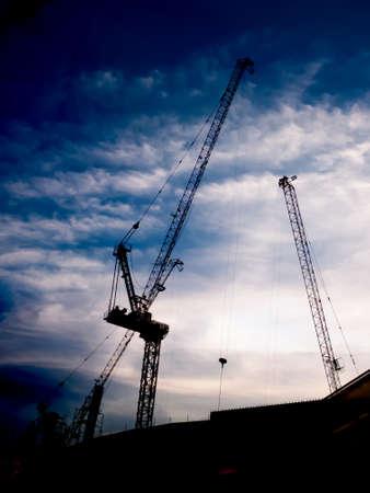 The construction crane on sunset background