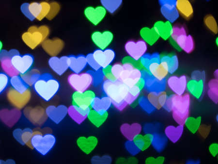 colorful heart bokeh background