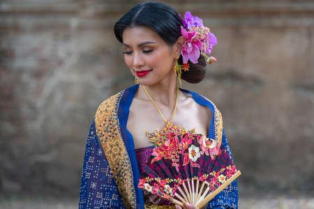 Beautiful asian portrait women in traditional costumes