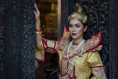 Beautiful asian portrait women in Myanmar traditional costumes