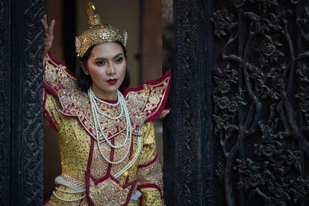 Beautiful asian portrait women in myanmar traditional costumes Stock fotó