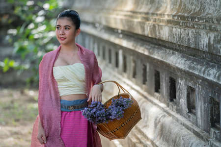 Beautiful asian portrait women in thai traditional costumes