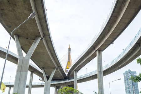 bhumibol: Bhumibol Bridge (Bangkok,Thailand) on white sky Stock Photo
