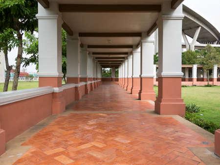 bhumibol: walkway in garden at Bhumibol Bridge Stock Photo