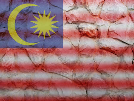 aec: Malaysia double exposure stone wall and aec asian flag