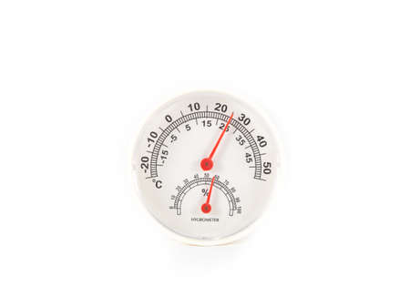 gage: thermometer and hygrometer gage isolated on white background Stock Photo