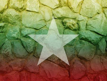 aec: Burma double exposure stone wall and aec asian flag