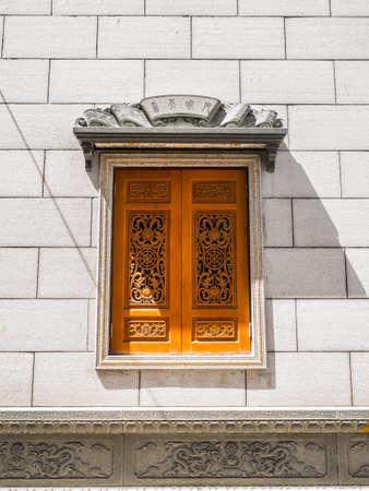 muralla china: Pared y la ventana tradicional china