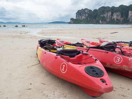 railay: Canoe on beach at Railay beach Krabi, Thailand Stock Photo