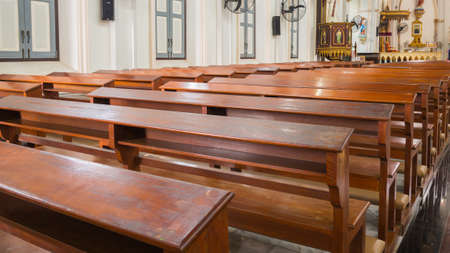 pews: 2015-17-Oct, Samut Songkhram Thailand: Empty pews in church