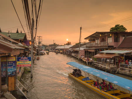 amphawa: 2015-17-Oct: Amphawa,Samut Songkhram - Silhouette twilight sunset at Amphawa Floating Market Editorial