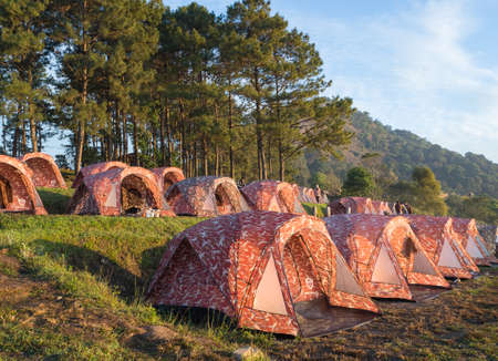 camping pitch: Doi Ang Krang, Chiang Mai Thailand - December 3, 2015: tents camp in winter
