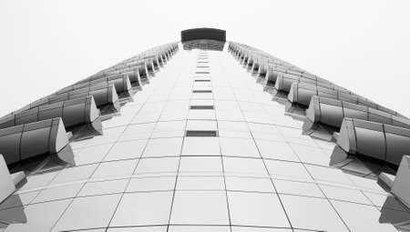 corporate governance: black and white beautiful building architecture over white sky background