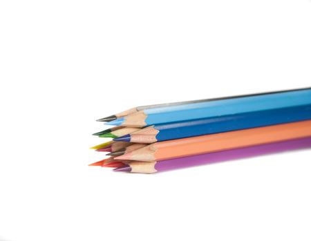 tip up: Close up on bundle of colour pencils tip