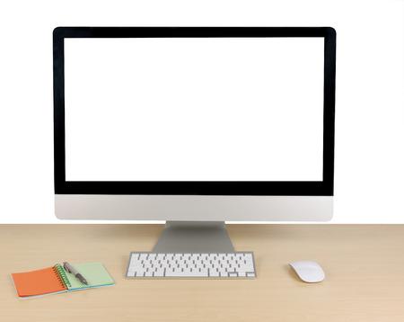 paper note: Vector de la oficina con el ordenador y el papel de la nota Foto de archivo