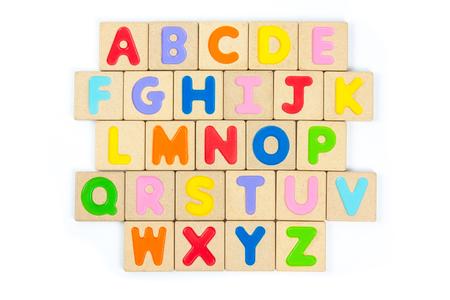 abc kids: ABC wooden alphabet isolate on white background