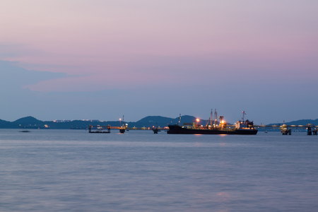 tanker ship: Oil tanker ship at station in the seaport twilight time