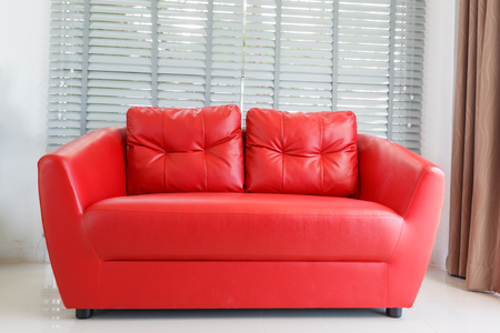 red sofa: Red sofa in living room