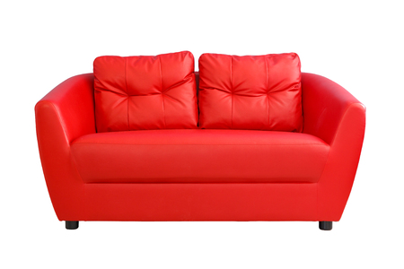 red sofa: Red sofa funiture isolated on white background Stock Photo