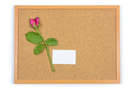 wilted: Wilted Rose and paper card on brown board