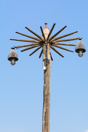 power pole: Old wooden Power Pole and lights Stock Photo