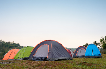 dring: Tents at camping site dring evening time
