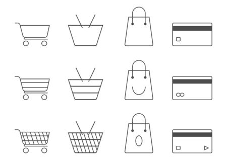 Shopping set icons line design include cart,bag,credit card vector outline on white backgroung.