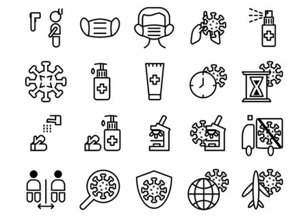 Vector icons set of simple outline icon coronavirus.Consists of the following icons such as disease,temperature,mask,wash hands and protection guidelines on white backdround. Stock Illustratie