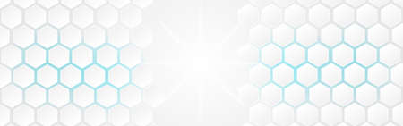 White abstract polygon banner background. Vector 3d hexagon paper of business technology blue energy texture.