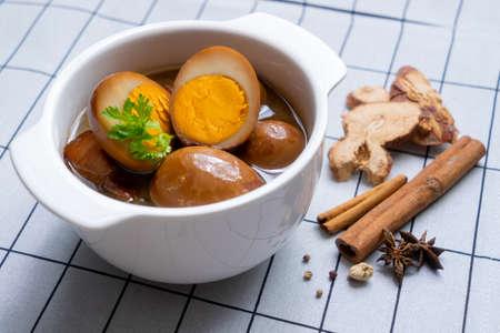 Hard-boiled eggs in the sweet gravy Stock Photo
