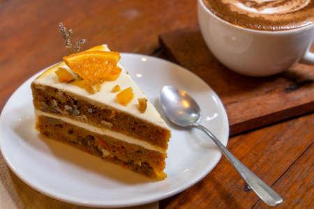 Orange cake in cafe Stock Photo