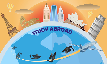 Vector of study abroad and global education concept with many of landmark and city. Banco de Imagens - 126018163