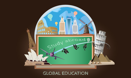Vector of study abroad and global education concept with many of landmark and city.