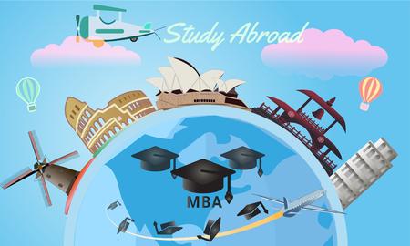 Vector de estudio en el extranjero y concepto de educación global con muchos puntos de referencia y ciudad.