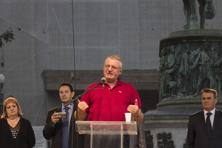 radical: BELGRADE, SERBIA - JUNE 28, 2015: President of the Serbian Radical Party Vojislav Seselj gives a speech on Republic Square for Vidovdan Day.