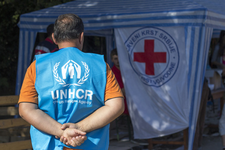 Sid, Serbia - October 3, 2015: UNHCR staff member waiting for the arrival of a bus of Refugees in Berkasovo, Serbo-Croatian border 에디토리얼