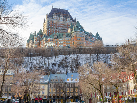 View of Frontenac Castle in winter under the snow