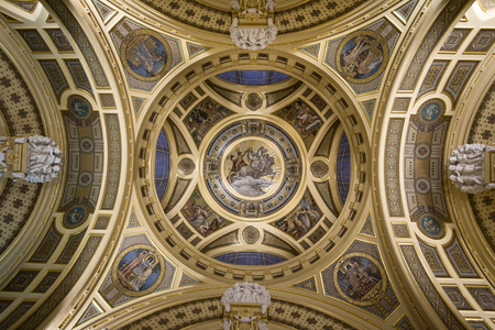 Decorative ceiling in the entrance of Szechenyi Baths in Budapest Editorial
