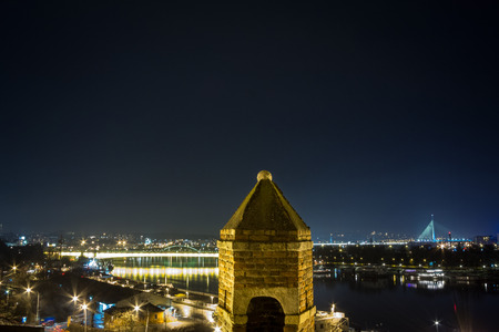 Panorama of Belgrade, Serbia, in a winter evening seen from Kalemegdan fortress Stock Photo