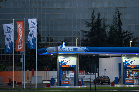 oligarchy: BELGRADE, SERBIA - APRIL 29, 2017: Gazprom gas station in front of Their headquarters for Serbia. Gazprom is one of the main power and energy companies of Russia, with offices worldwide. Editorial