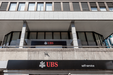 GENEVA, SWITZERLAND - JUNE 19, 2017: Local branch of UBS (Union Bank Switerland) in Geneva. UBS is one of the main banks of the country, famous for its bank secrecy  Picture of a UBS local branch in Geneva Szitzerland. Union Bank Switerland is famous for  Editorial